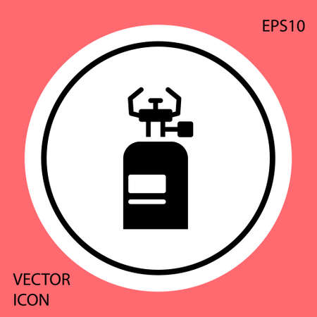 Black Camping gas stove icon isolated on red background. Portable gas burner. Hiking, camping equipment. White circle button. Vector 일러스트