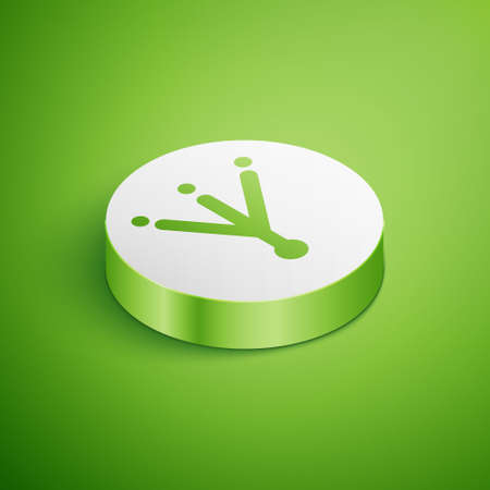 Isometric Bird footprint icon isolated on green background. Animal foot. White circle button. Vector