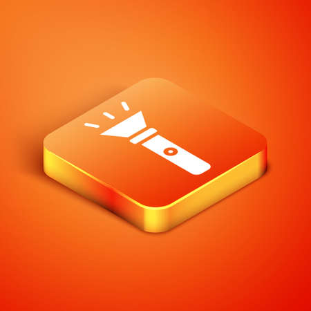 Isometric Flashlight icon isolated on orange background. Vector