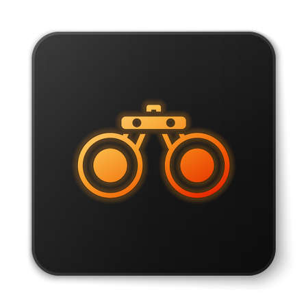 Orange glowing neon Binoculars icon isolated on white background. Find software sign. Spy equipment symbol. Black square button. Vector Banque d'images - 152566439