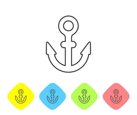 Grey line Anchor icon isolated on white background. Set icons in color rhombus buttons. Vector