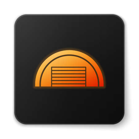 Orange glowing neon Garage icon isolated on white background. Black square button. Vector Banque d'images - 152565367