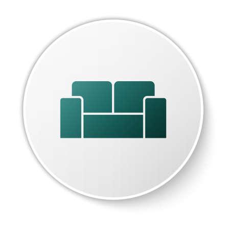 Green Sofa icon isolated on white background. White circle button. Vector Stock Illustratie