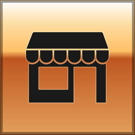 Black Shopping building or market store icon isolated on gold background. Shop construction. Vector Stock Illustratie