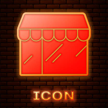 Glowing neon Shopping building or market store icon isolated on brick wall background. Shop construction. Vector