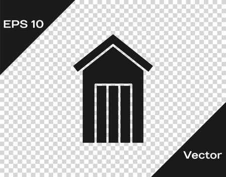 Black Wooden outdoor toilet icon isolated on transparent background. Vector