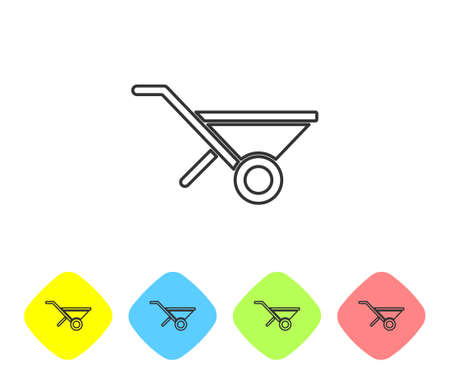 Grey line Wheelbarrow icon isolated on white background. Tool equipment. Agriculture cart wheel farm. Set icons in color rhombus buttons. Vector