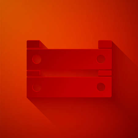 Paper cut Wooden box icon isolated on red background. Grocery basket, storehouse crate. Empty wooden container for vegetables, products. Paper art style. Vector Illusztráció