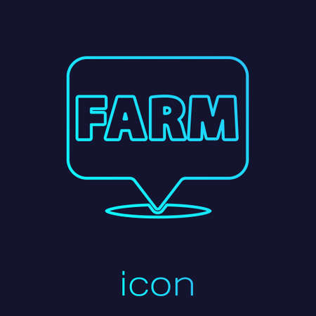 Turquoise line Location farm icon isolated on blue background. Vector