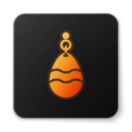 Orange glowing neon Horseshoe icon isolated on white background. Black square button. Vector Banque d'images - 152565127