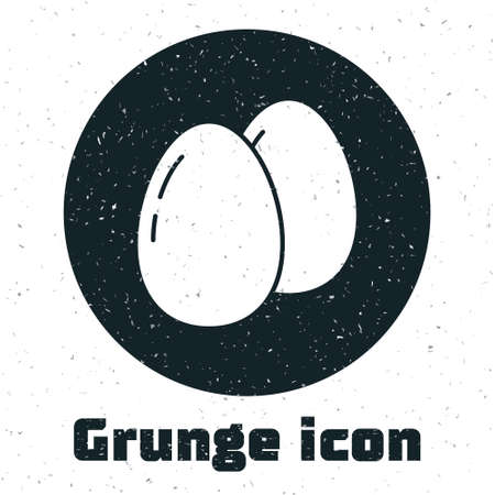 Grunge Chicken egg icon isolated on white background. Monochrome vintage drawing. Vector