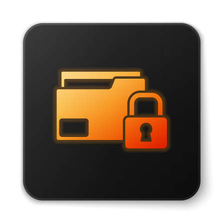 Orange glowing neon Folder and lock icon isolated on white background. Closed folder and padlock. Security, safety, protection concept. Black square button. Vector Banque d'images - 152566274