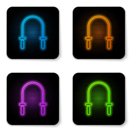 Glowing neon Jump rope icon isolated on white background. Skipping rope. Sport equipment. Black square button. Vector