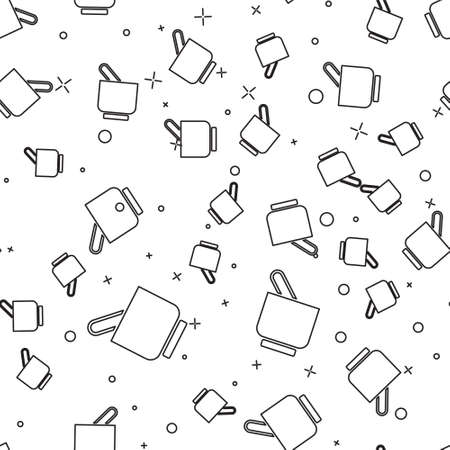 Black line Mortar and pestle icon isolated seamless pattern on white background. Vector