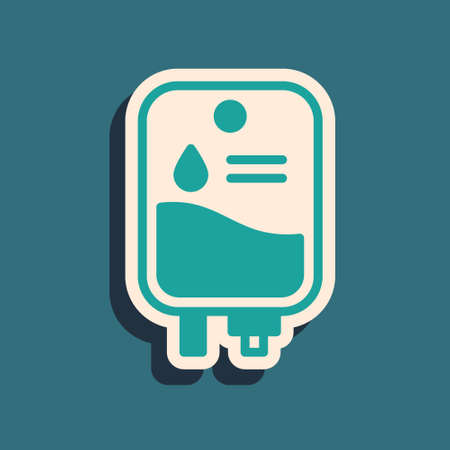 Green IV bag icon isolated on green background. Blood bag. Donate blood concept. The concept of treatment and therapy, chemotherapy. Long shadow style. Vector