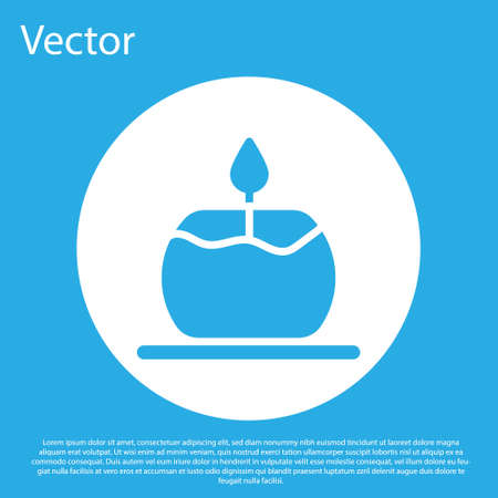 Blue Aroma candle icon isolated on blue background. White circle button. Vector 일러스트