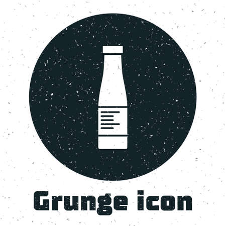 Grunge Sauce bottle icon isolated on white background. Ketchup, mustard and mayonnaise bottles with sauce for fast food. Monochrome vintage drawing. Vector.