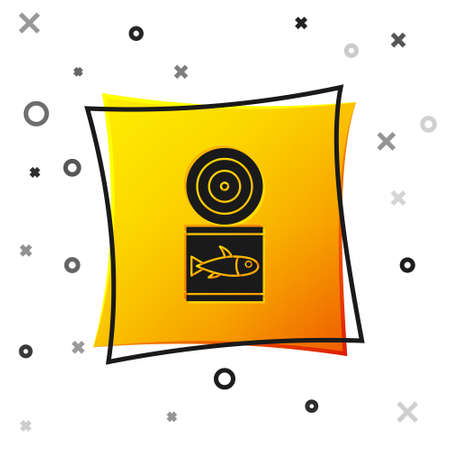 Black Canned fish icon isolated on white background. Yellow square button. Vector. Vettoriali