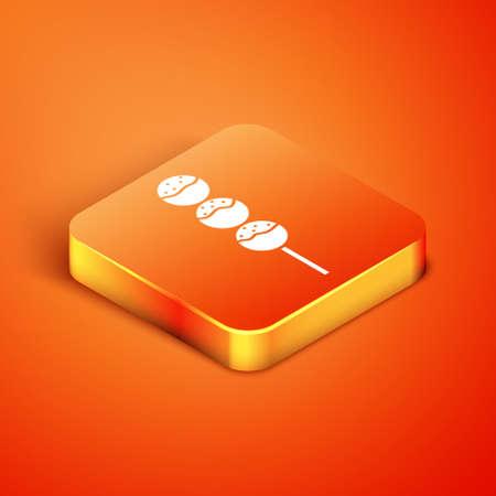 Isometric Takoyaki on a stick icon isolated on orange background. Japanese street food. Vector.