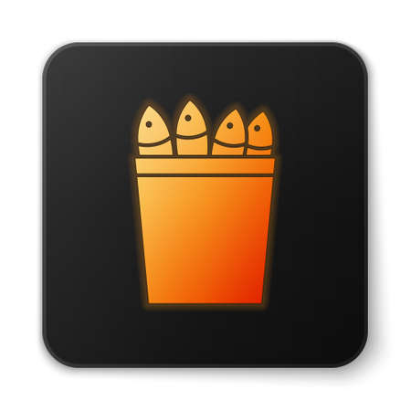 Orange glowing neon Fishing bucket with fishes icon isolated on white background. Fish in a bucket. Black square button. Vector. Banque d'images - 152565264