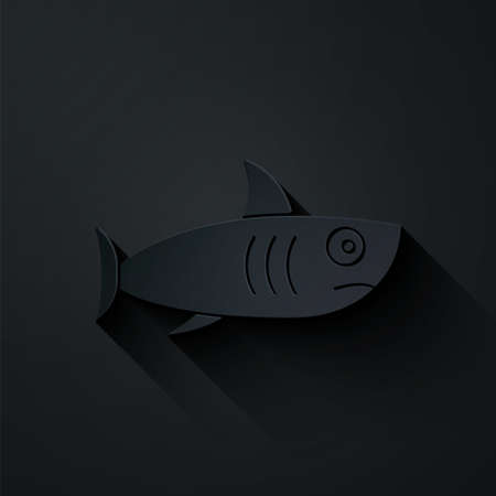 Paper cut Shark icon isolated on black background. Paper art style. Vector.
