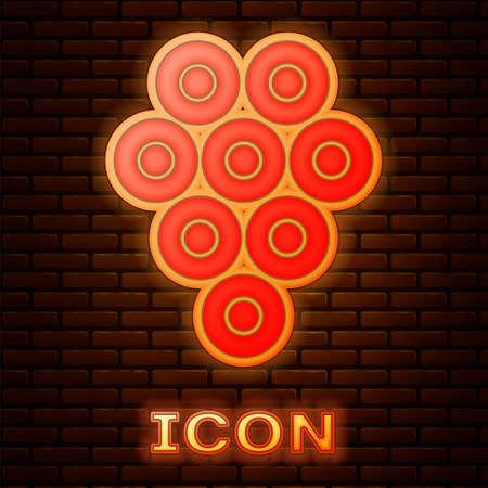 Glowing neon Caviar icon isolated on brick wall background. Vector. Illusztráció
