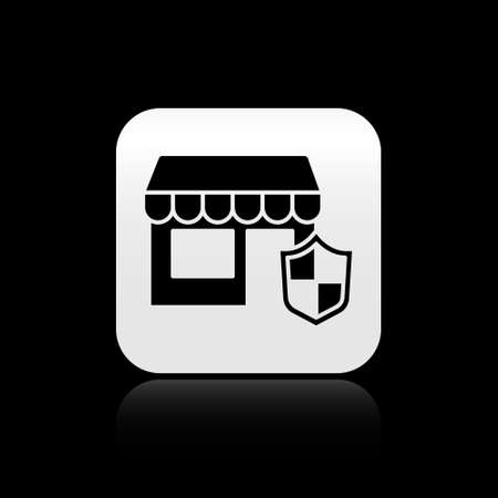 Black Shopping building with shield icon isolated on black background. Insurance concept. Security, safety, protection, protect concept. Silver square button. Vector. Stock Illustratie