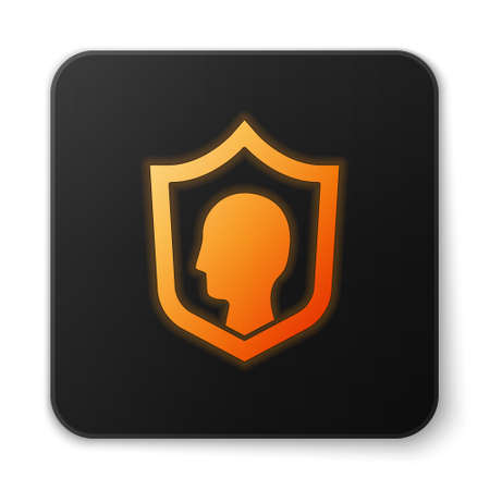 Orange glowing neon Life insurance with shield icon isolated on white background. Security, safety, protection, protect concept. Black square button. Vector. Banque d'images - 152566114