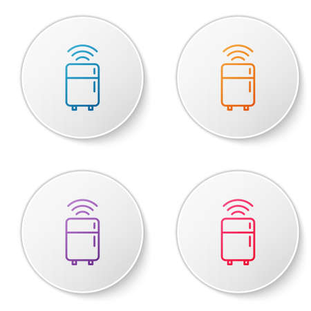 Color line Smart refrigerator icon isolated on white background. Fridge freezer refrigerator. Internet of things concept with wireless connection. Set icons in circle buttons. Vector