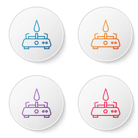 Color line Camping gas stove icon isolated on white background. Portable gas burner. Hiking, camping equipment. Set icons in circle buttons. Vector 일러스트