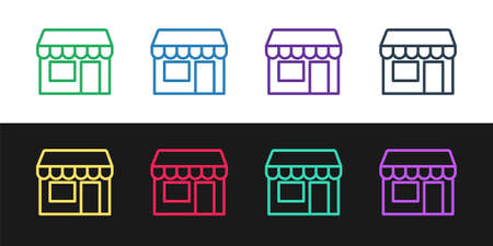 Set line Shopping building or market store icon isolated on black and white background. Shop construction. Vector Stock Illustratie