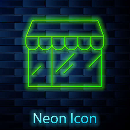 Glowing neon line Shopping building or market store icon isolated on brick wall background. Shop construction. Vector Stock Illustratie