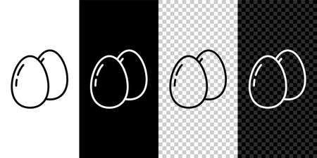 Set line Chicken egg icon isolated on black and white background. Vector 矢量图像