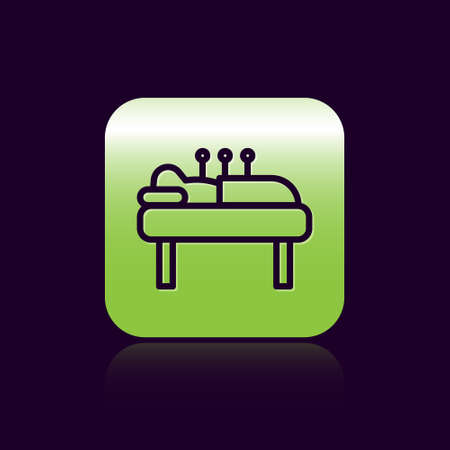 Black line Acupuncture therapy icon isolated on black background. Chinese medicine. Holistic pain management treatments. Green square button. Vector