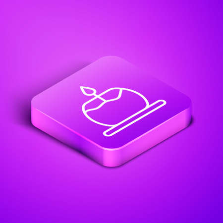 Isometric line Aroma candle icon isolated on purple background. Purple square button. Vector