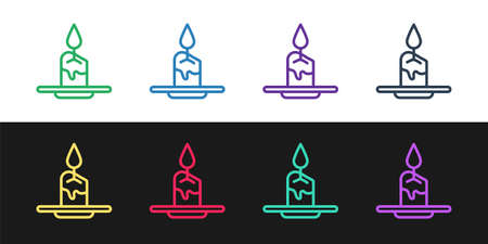 Set line Aroma candle icon isolated on black and white background. Vector