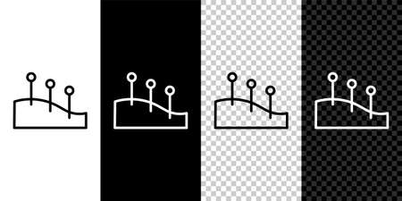 Set line Acupuncture therapy icon isolated on black and white background. Chinese medicine. Holistic pain management treatments. Vector