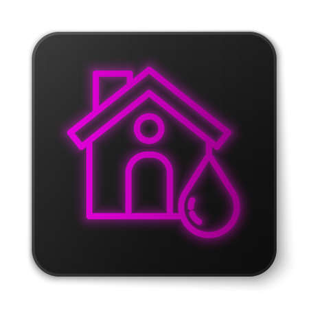Glowing neon line House flood icon isolated on white background. Home flooding under water. Insurance concept. Security, safety, protection, protect concept..