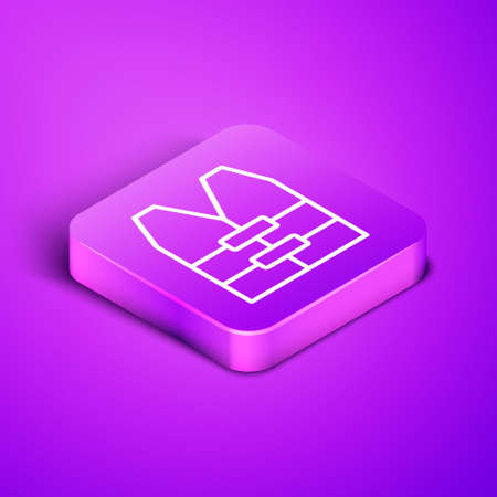 Isometric line Life jacket icon isolated on purple background. Life vest icon. Extreme sport. Sport equipment. Purple square button. Vector.