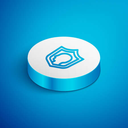 Isometric line Life insurance with shield icon isolated on blue background. Security, safety, protection, protect concept. White circle button. Vector.