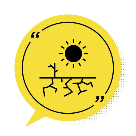 Black Drought icon isolated on white background. Yellow speech bubble symbol. Vector Illustration.