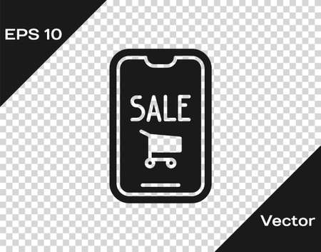 Black Mobile phone and shopping cart icon isolated on transparent background. Online buying symbol. Supermarket basket symbol. Vector Illustration. Stock Illustratie