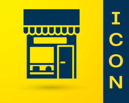 Blue Shopping building or market store icon isolated on yellow background. Shop construction. Vector Illustration.