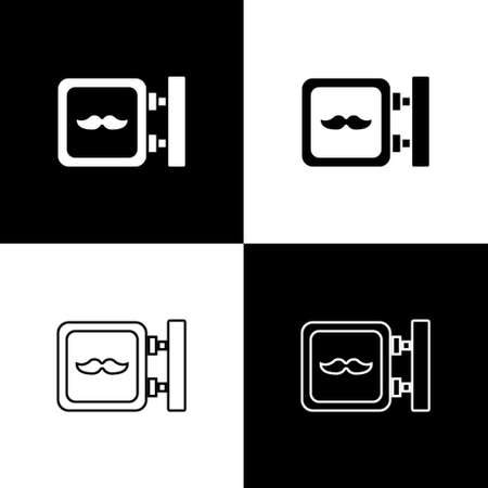 Set Barbershop icon isolated on black and white background.