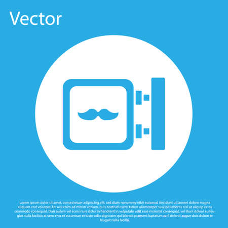 Blue Barbershop icon isolated on blue background. Hairdresser  signboard. White circle button. Vector Illustration. Illustration