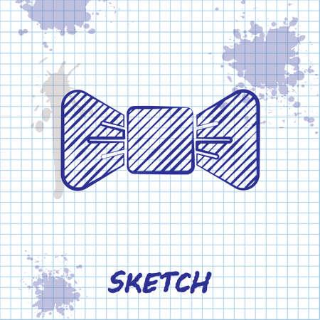 Sketch line Bow tie icon isolated on white background. Vector Illustration. Illusztráció
