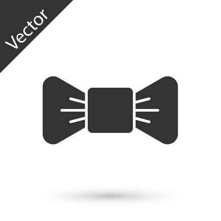 Gray Bow tie icon isolated on white background. Vector Illustration.