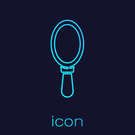 Turquoise line Hand mirror icon isolated on blue background. Vector Illustration.