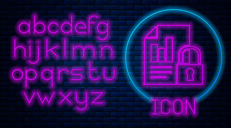 Glowing neon Document and lock icon isolated on brick wall background. File format and padlock. Security, safety, protection concept. Neon light alphabet. Vector Illustration. Vectores