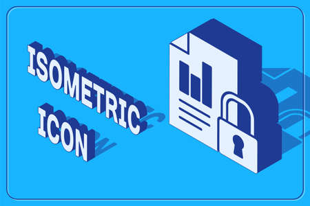 Isometric Document and lock icon isolated on blue background. File format and padlock. Security, safety, protection concept. Vector Illustration.